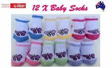 12 x BABY GIRLS SOCKS BUTTERFLY DESIGN SOCKS NEWBORN TODDLER 0-6MONTHS