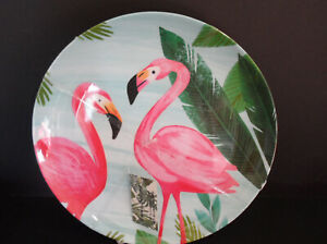 """4- Tommy Bahama Melamine Dinner Plate Set Pink Flamingo Palms 11"""" Outdoor Dining"""