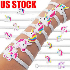 30PCS Cartoon Unicorn Rubber Bracelet Wristband Bangle Party Favors Kids Gift