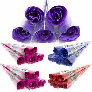 Scented Valentine Rose Flower Blue Purple Pink Red Artificial Single Flower UK