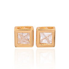GORGEOUS 18K GOLD PLATED SQUARE CLEAR RHINESTONE STUD EARRINGS