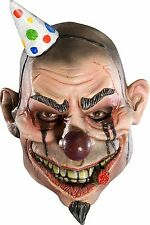 Boys Psycho Clown Mask Latex Face Joker Wide Smile Scary Halloween Kids Child