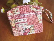 Country Flower Patch Design Pocket Zipper Cotton Quilted Make Up Bag Pouch C1