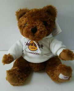 "Hard Rock Cafe Herrington Teddy Bear Plush 2008 Foxwoods CT 10"" Brown w Hoodie"
