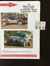 DECALS 1/43 RENAULT MEGANE MAXI KIT CAR MACEDO RALLYE PORTUGAL 1997 WRC RALLY