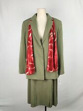 NWT 16 Norton McNaughton Women's Two Piece Suit Green Blazer Skirt New Scarf