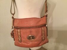 Fossil Maddox Pink  Crossbody Bag Long Live Vintage Snake Embossed