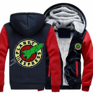 PLANET EXPRESS Hoodie Jacket Fleece Winter Warm Thick Hooded Coat