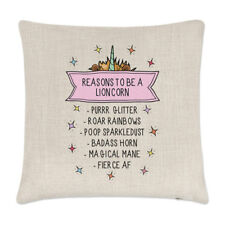 Reasons To Be A Lioncorn Linen Cushion Cover Pillow - Funny Lion Unicorn Animal