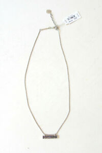 NEW Kendra Scott Leanor Rhodium Plated Necklace Multicolor Drusy Bar Pendent $75