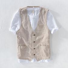 Mens Linen Look Stripe Vest Jacket Pocket Gilet Top Waistcoat Casual Summer
