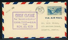 Canal Zone First Flight Cover LOT #12 CZSG 112 1931 American Clipper KINGSTON $$
