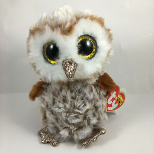 "2019 TY Beanie Boos 6"" PERCY Brown Barn Owl Animal Plush w/ MWMT Ty Heart Tags"
