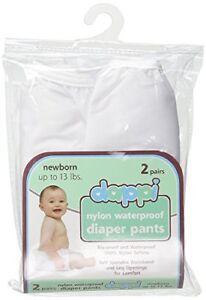 Dappi Waterproof 100% Nylon Diaper Pants, 2 Pack, White, Newborn