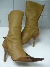 Ladies DUNE leather suede BOOTS UK 7 41 stiletto pointy cowboy rock chick tan