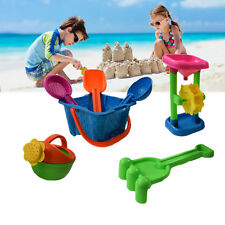 Beach Sand Bucket Toy Sandbox Tool 7 Piece Playset With Spinning Sand Water Mill