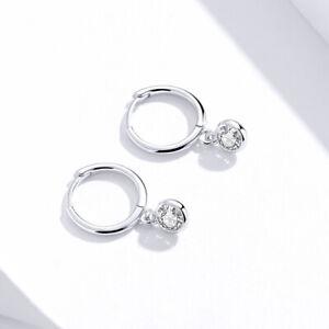Sterling Silver Earrings small hoop closure with drop gem