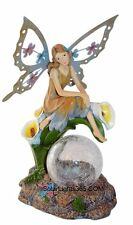 Solar Angel Fairy Sitting on Calla Lilies Glass Crackle Globe Ball Light Lamp