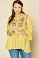 Plus Size Women Babydoll Boho Peasant Mustard Embroidered  Top Tunic 3X