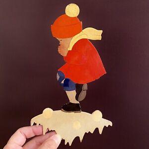 🚬 Märchen-Holzbild ALT 1930er 22cm Hellerkunst Handbemalter Schneeball-Junge