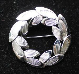 Vintage Stamped STERLING & CA with ARROW Silver Textures HOOP Pin Brooch 6.15g