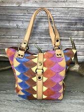 Lucky Brand Multi-Color Suede Patchwork Leather Purse Handbag Hobo Boho Hippie