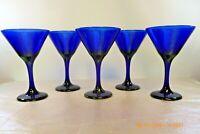 MINT LIBBEY Set 5 COBALT BLUE Stemware Champagne Cocktail MARTINI GLASSES 10 oz