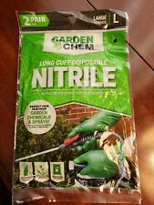 2 Pairs Nitrile Gloves  Long Cuff large by GardenChem disposable new rubber