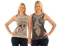 Ladies Animal Print Vest Skulls Sleeveless Cotton Studs Womens Tank Top