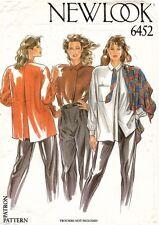 1980's VTG New Look Misses' Shirt,Tie,Scarf Pattern 6452 Size 8-18 UNCUT