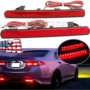 For Acura TSX 2009 10 11 13-14 Rear Bumper Reflectors Brake Tail Light Lamp LED