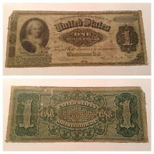 VINTAGE $1 1886 SILVER CERTIFICATE FR 216 ONE DOLLAR BILL MARTHA WASHINGTON RED