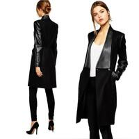 Womens Wool Blend Faux Leather Chic Sleeve Long Jacket Slim Trench Coat Outwear#