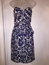 TRINA TURK 4 Strapless Floral White Navy Dress Bow Front EUC