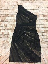 c2686b61832 Monique Lhuillier Black Lace Nude One Shoulder Cocktail Dress SZ 4