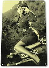 TIN SIGN: PGB163 Jeepers Tin Metal Sign Pin-up Girl Army Military Garage Decor