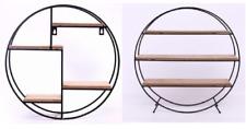 Round Shape Shelf Unit Metal Wire Wooden Shelves Industrial Storage Rack Stand