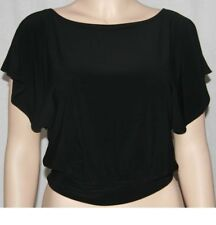 New short draped sleeve blouse boat neckline top Black Medium Cantata banded hem