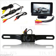 "4.3"" LCD Monitor Car Reverse Rear View Parking Back Up Night Vision Camera Kit"