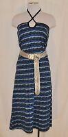VTG Blue Aztec L Grunge Summer Convertible Halter Dress or Long Fitted Skirt