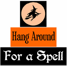Halloween Stencil Block Set Witch Hang Around For Spell