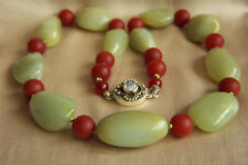 ONE OF A KIND Vintage Chinese Hetian River Pebble Jade Sterling Necklace 23""