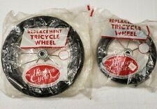 """Unused Vintage Tricycle Wheels Hansen Cycle Works one 9-3/4"""" & one 6-3/4"""" Dia."""