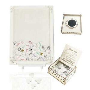 White Wooden Wedding Guest Book Picture Frame Drop Top Heart Sign Box Decoration