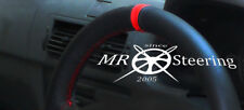 FITS AUDI A3 8P 2004-2012 BLACK GENUINE LEATHER STEERING WHEEL COVER + RED STRAP