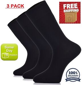 Black WOMEN Dress Crew BAMBOO Socks, MEDIUM, Business Casual, 3 Pair