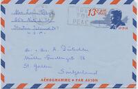 USA 1969 John F. Kennedy 13C Aerogramme WEST NEW YORK NY 07093 / PRAY FOR PEACE