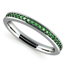0.78Ct Green Emerald Gemstone Diamond Ring Solid 14kt White Gold Rings