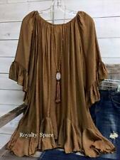 BOHO-HIPPIE CHIC BOUTIQUE TUNIC IN MUSTARD LINED LOOSE FITTING YOUNG STYLE -2x