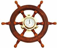 Classical 20'' Nautical Wood & Brass Ship Wheel Clock Ship's Wall Clock Decor